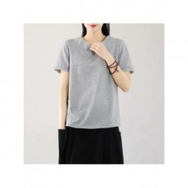 Japan Style Short Sleeve Casual Tshirts Women Vintage Cross O Neck Literary Allmatch 100% Cotton Top Tees Female Loose Clothes
